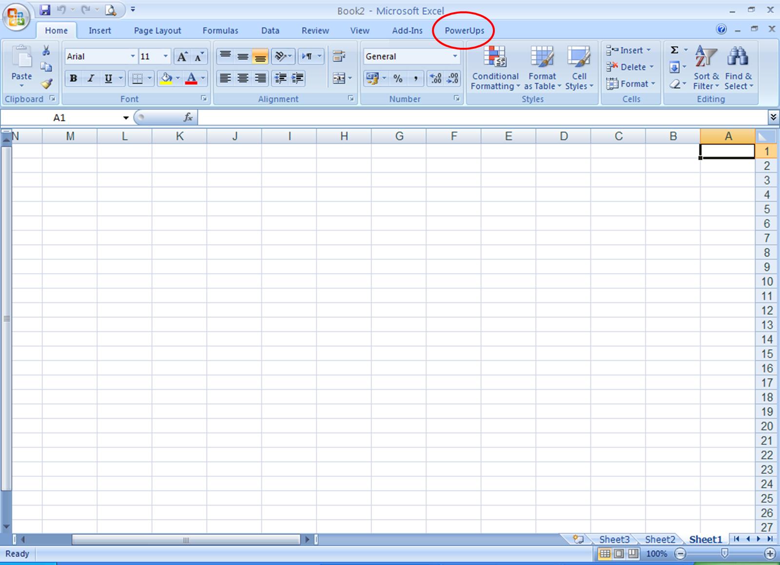 Excel PowerUps tool