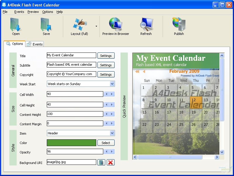 A4desk flash event calendar 1 60